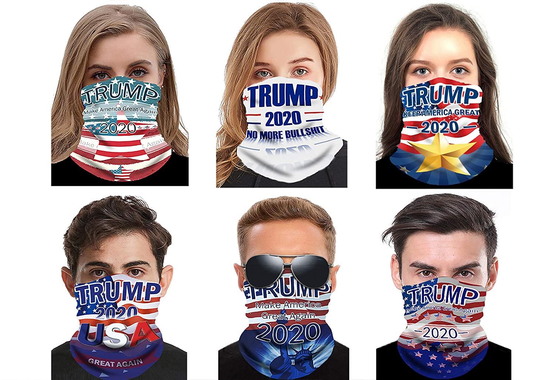 ATIMIGO Trump 2020 Face Mask Mouth Cover Bandanas Neck Gaiter Balaclavas for Dust Outdoors, Festivals, Sports-6 Pack