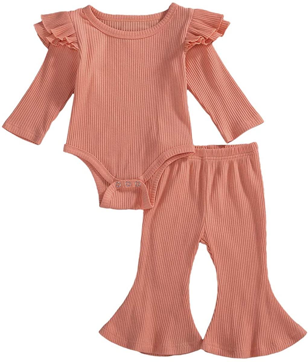 Newborn Baby Girls Knit Suits Long Sleeve Ruffle Romper Bell-Bottom Long Pants 2PCS Clothes Set