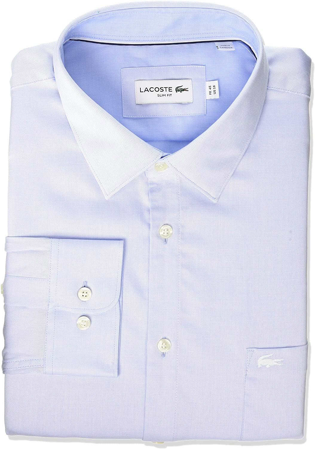 Lacoste Men's Long Sleeve Textured Semi Wide Collar Slim Fit Shirt