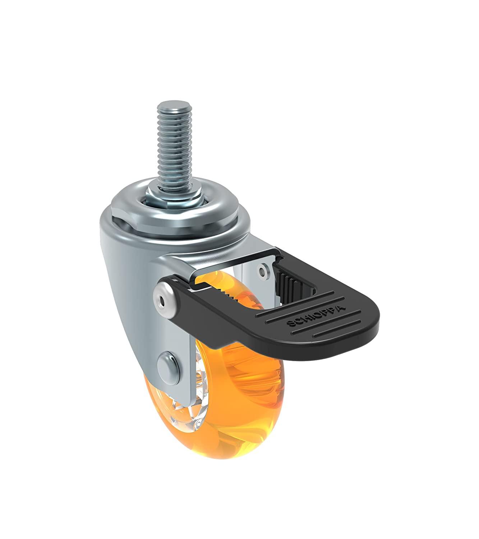 Schioppa L10 Series, GLEFF 210 Gel Orange FPI, Swivel Brake Caster, 2