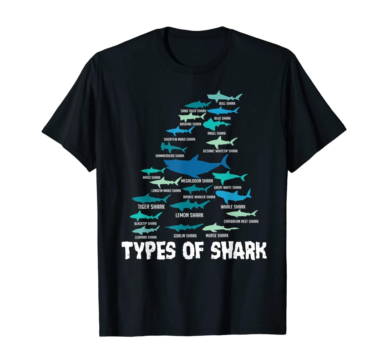 Types of Shark Megalodon Great White Nurse Shark T-Shirt