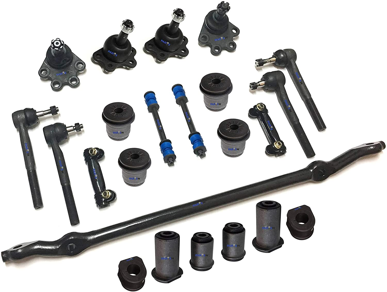 PartsW 23 Pc Front Suspension Kit for Chevrolet & GMC/Blazer K1500/K2500 Yukon/Upper & Lower Control Arm Bushing/Sway Bar Frame Bushings - 27mm (1.06 Inch), Center Link, Tie Rod Ends & Sway Bars