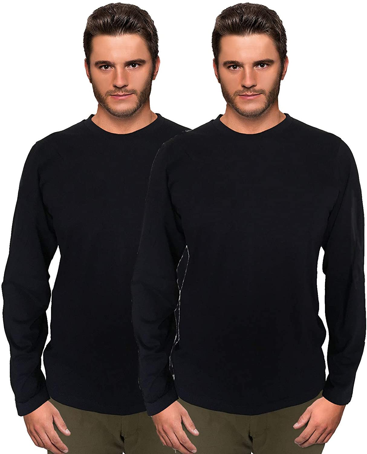 Joli and Bonito Mens Full Sleeves T-Shirt - Pack of 2 - Navy Blue, Medium