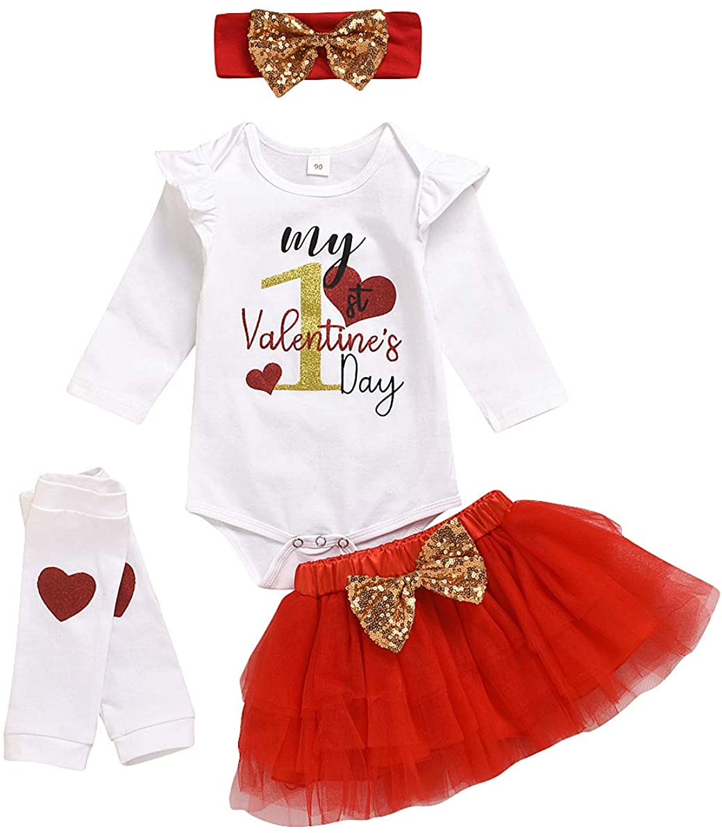 My 1st Valentine's Day Newborn Baby Girls Outfit Romper + Tutu Skirt + Headband with Legging Clothes Set