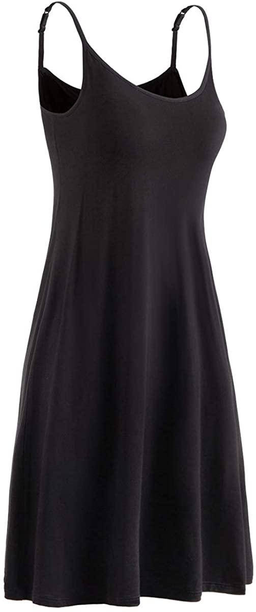Womens Modal Built in Padded Bra Sleepwear Adjustable Spaghetti Strap Nightgown
