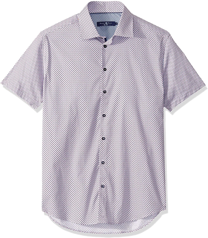 Stone Rose Men's Cotton Stretch Geometric Print Short Sleeve Shirt