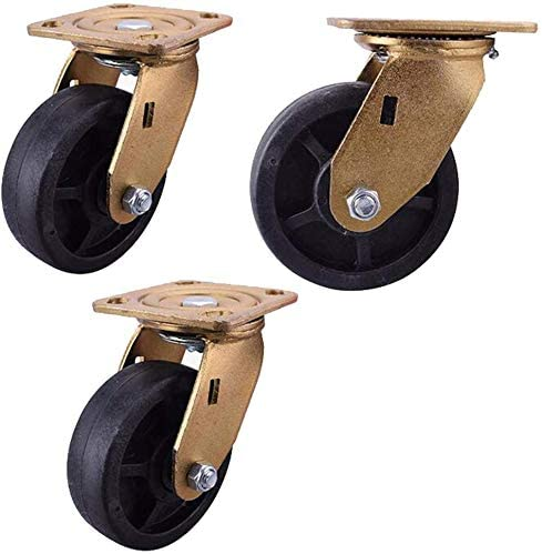 Casters (pack of 3) 4 5-inch wheel universal wheel high-performance high-temperature nylon directional wheel 5-inch industrial flatbed cart brake wheel 4-inch directional wheel