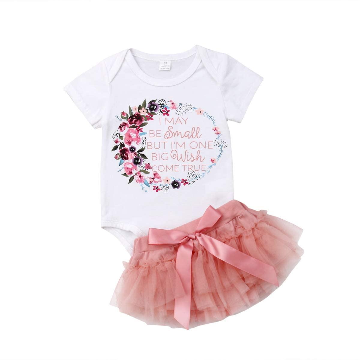 2Pcs/Set Newborn Infant Baby Girl Floral Bodysuit Romper Top+Tutu Skirt Shorts Summer Outfit