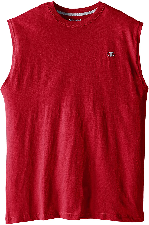 Champion Men's Big-Tall Jersey Muscle T-Shirt, Cardinal Red, 2X/Tall