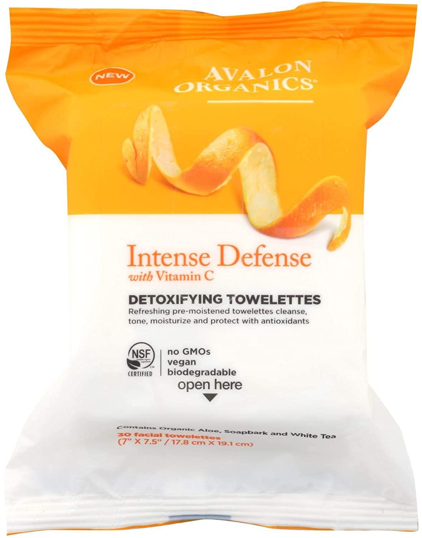 Avalon Organics Intense Defense Detoxifying Towelettes, 30 Count per Pack - 6 per case.