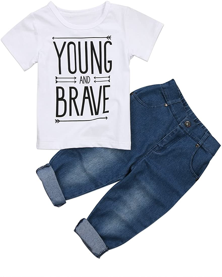 Toddler Kids Baby Boy T-Shirt Tops Denim Pants Trousers Outfits Clothes Set 2Pcs