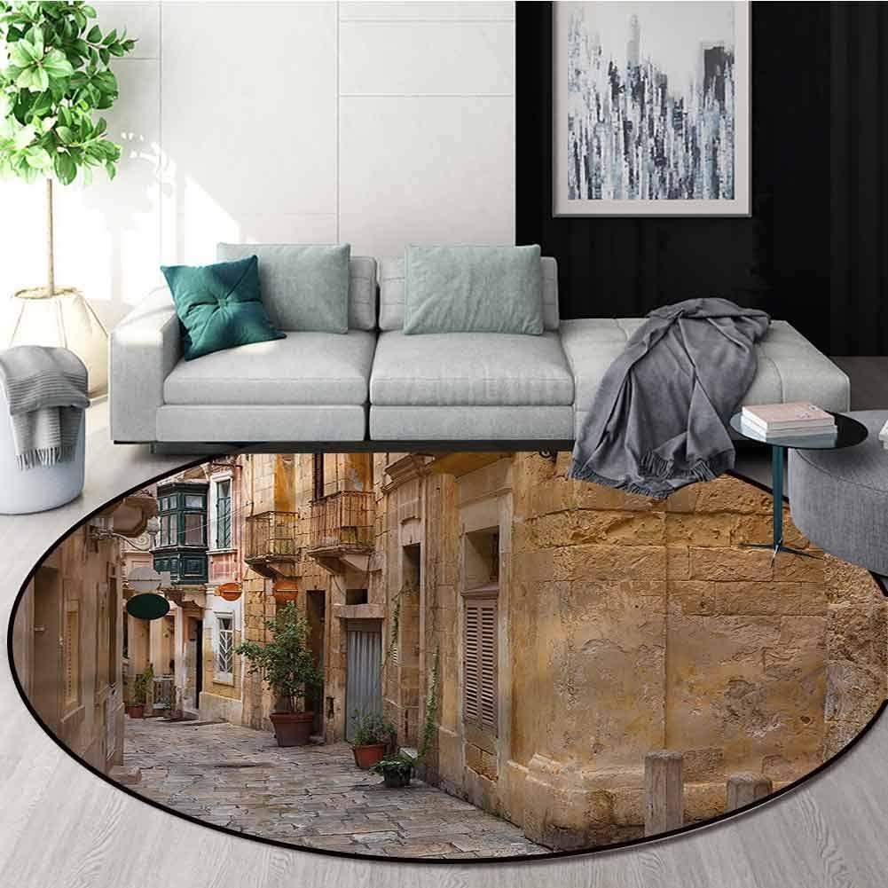 RUGSMAT Travel Washable Creative Modern Round Rug,Old Narrow Street Town Non-Skid Bath Mat Living Room/Bedroom Carpet Diameter-47