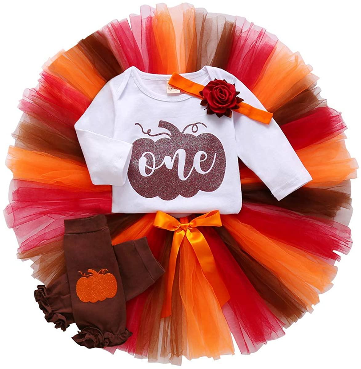 Halloween Baby Girl Outfits 1st Birthday Pumpkin Long Sleeve Romper Tulle Tutu Skirt Headband Leg Warmers 4pcs Clothes Set