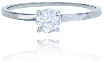 Sterling Silver Rhodium 5mm Round CZ Solitaire Engagement Ring