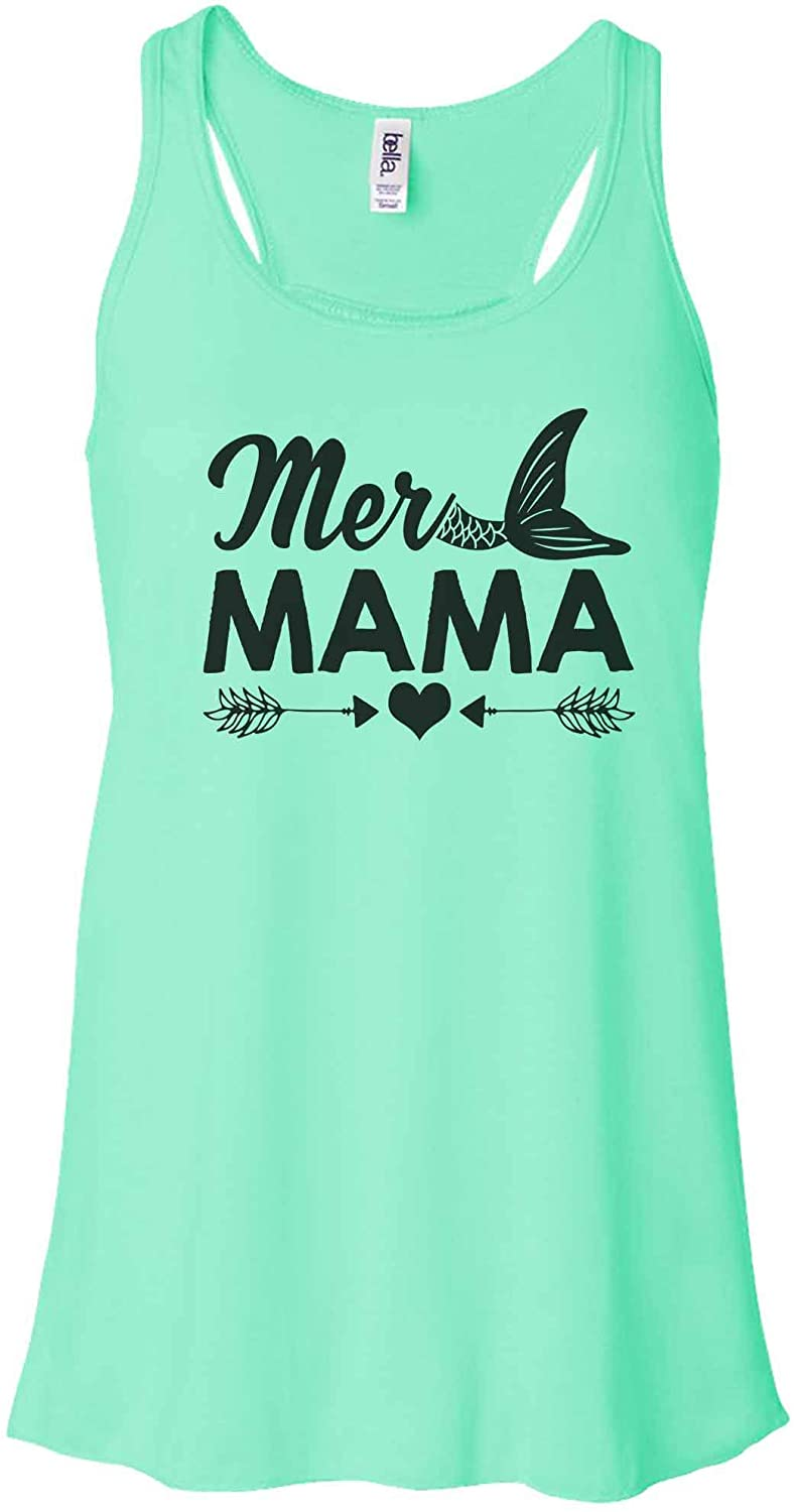 "Funny Threadz Women's Cute Mermaid Tank Top ""Mer Mama"" - Track Gift"
