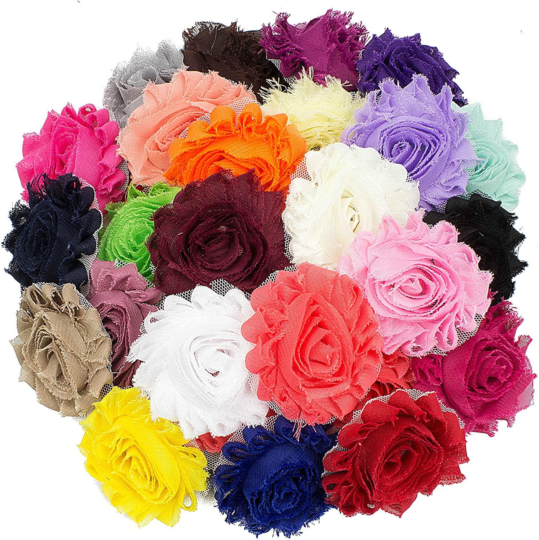JLIKA (50 Pieces Shabby Flowers - Chiffon Fabric Roses - 2.5