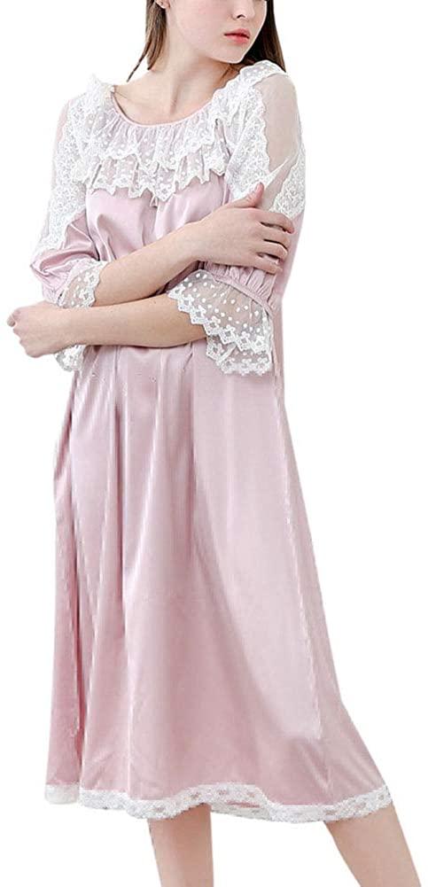 vctops Women's Satin Lace Trim Sleepskirt with Half Sleeve Lounge Dress Nightgown Sleepwear