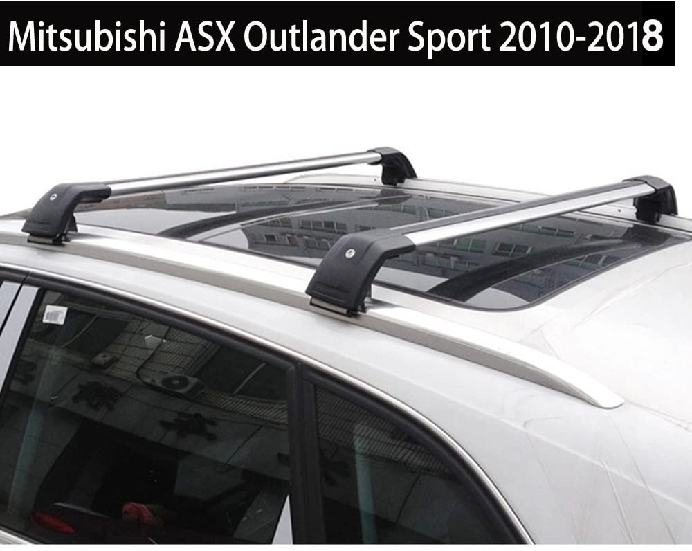 KPGDG Fit for Mitsubishi ASX Outlander Sport 2010-2018 Lockable Baggage Luggage Racks Roof Racks Rail Cross Bar Crossbar - Silver