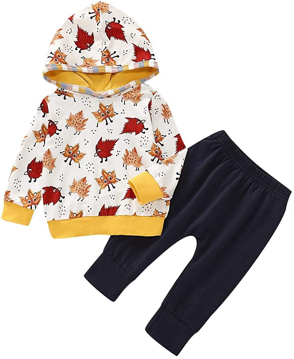 Baby Girls Boys Fall Clothes Long Sleeve Hoodied Cartoon Maple Leaf Print Shirt+ Harem Pants Outfits Set Overall