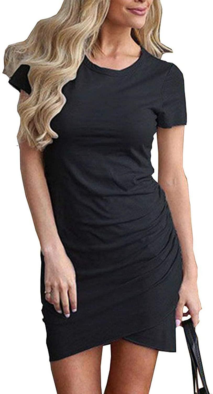 Faatoop Women's Short Sleeve Summer Bodycon Short Dress Casual Stretchy Ruched Crew Neck T Shirt Short Mini Dress