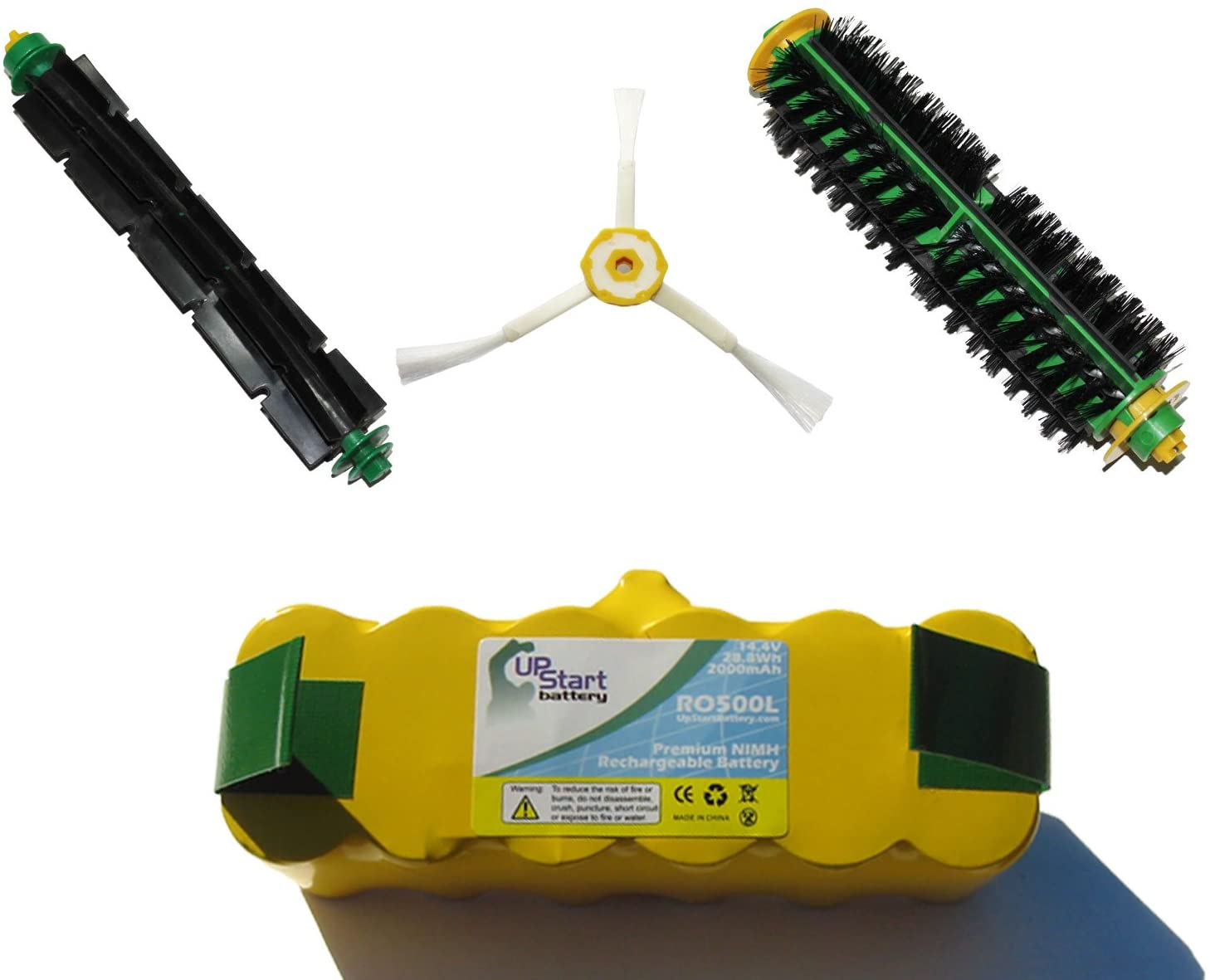 Replacement for iRobot Roomba 563 Battery, Bristle Brush and Flexible Beater Brush, 3-Arm Side Brush - Kit Includes 1 Battery, 1 Bristle Brush and 1 Flexible Beater Brush, 1 3-Arm Side Brush