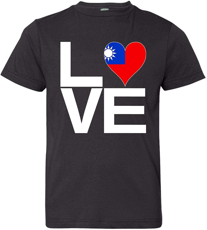 Tenacitee Girl's Youth Love Block Taiwan Heart T-Shirt