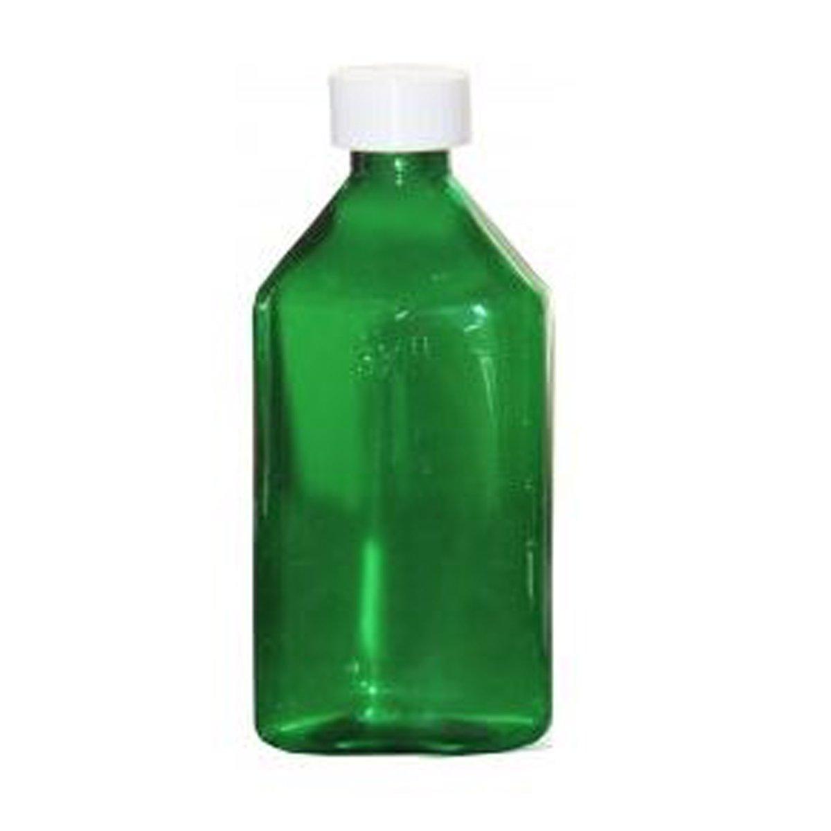 Amexdrug Oval Plastic Bottles - 12 oz - Green - Child Resistant Caps - 12 pcs (Medicine Bottle, Pharmacy Bottle, Liquid Medicine)