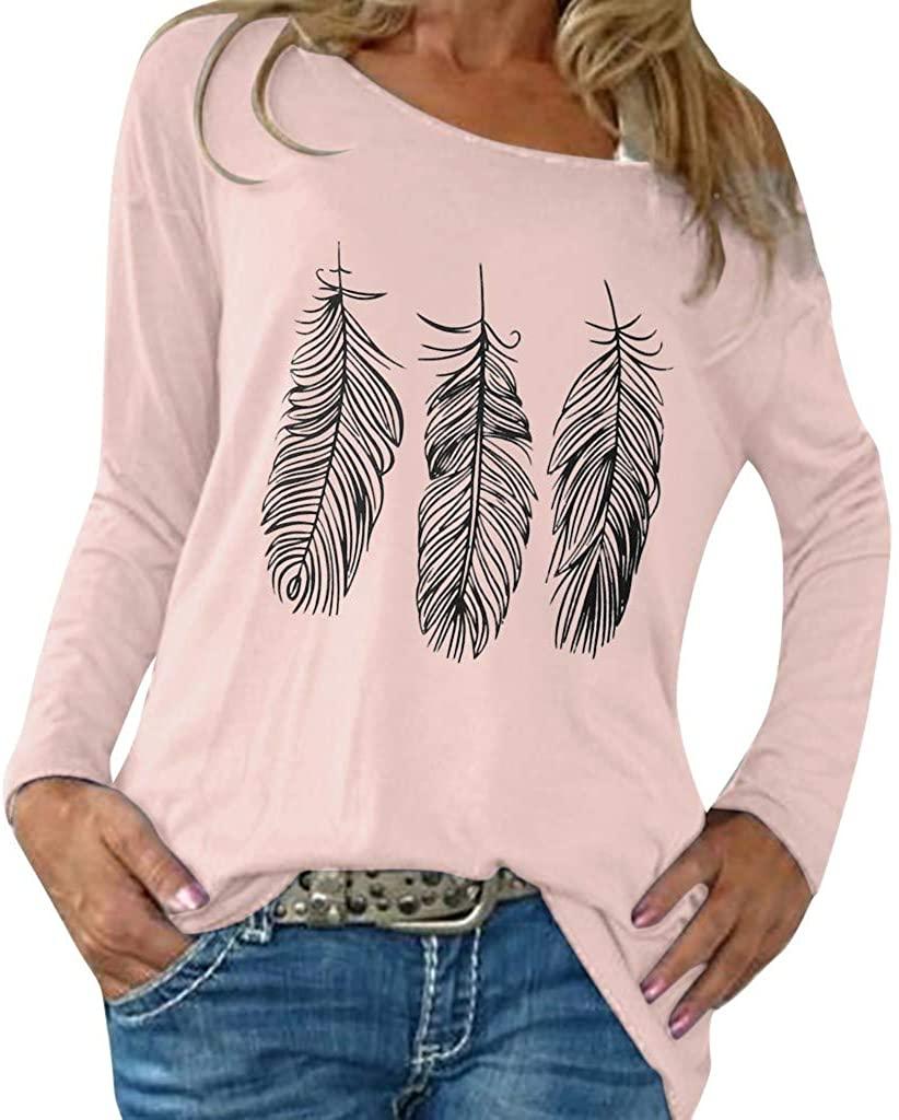 Adeliber Women's O-Neck Print Long Sleeve T-Shirt Casual Blouses Tops