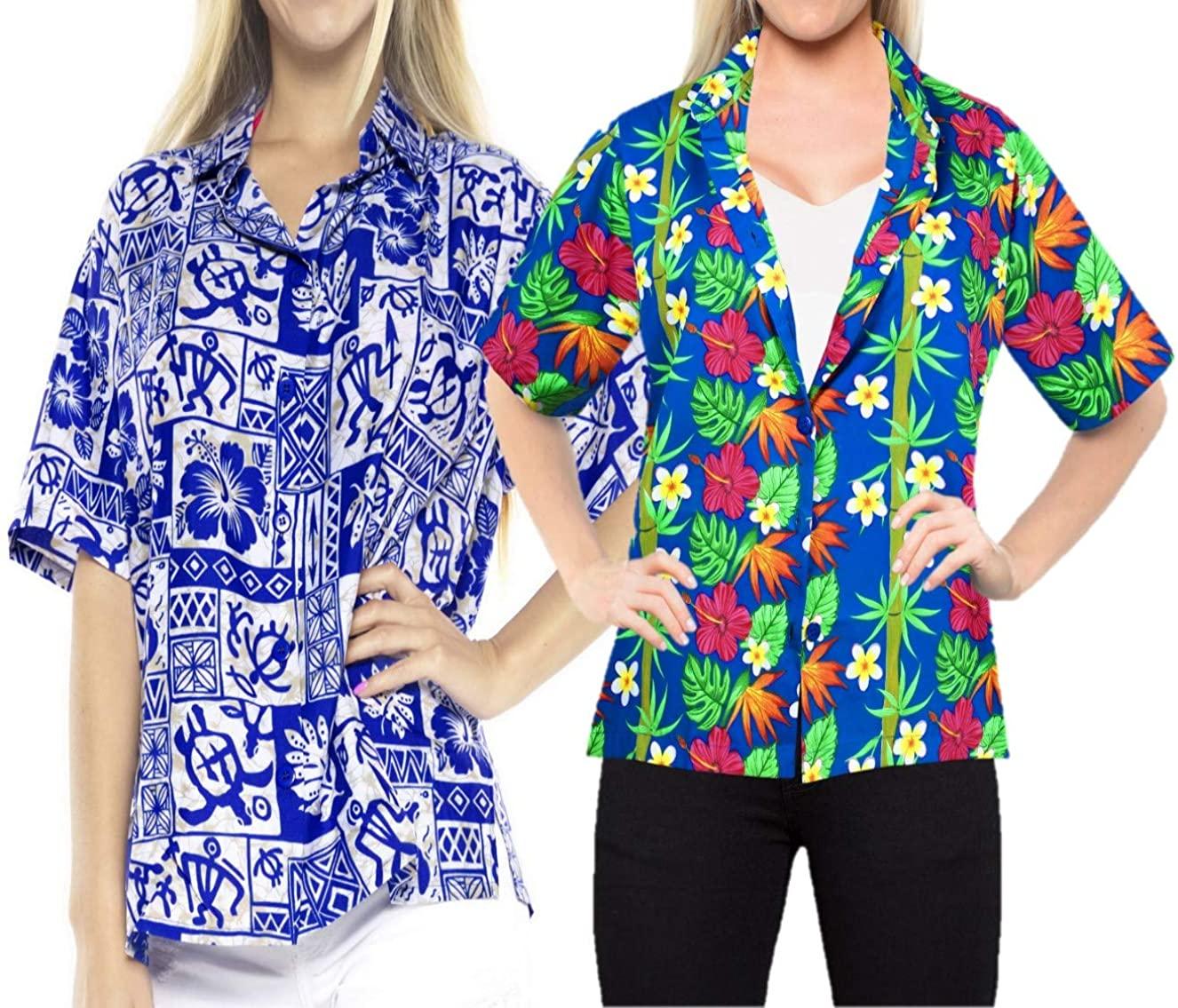LA LEELA Women's Beach Hawaiian Shirt Button Down Aloha Camp Shirt Work from Home Clothes Women Beach Shirt Blouse Shirt Combo Pack of 2 Size XXL
