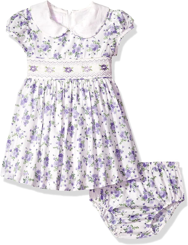 Bonnie Baby Baby Girls Smocked Waist Dress with Panty