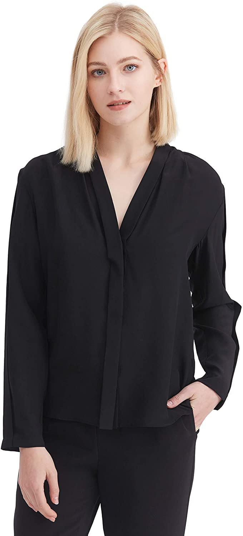 LilySilk Silk Shirt Women V Neck Hide Buttoned Chic Ladies Pure Silk Long Sleeve Top Button Down Summer Blouse