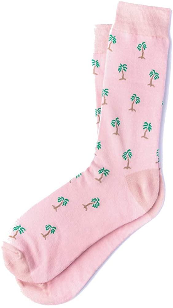 Men's Hipster Tropical Waving Palm Trees Novelty Crew Dress Trouser Socks