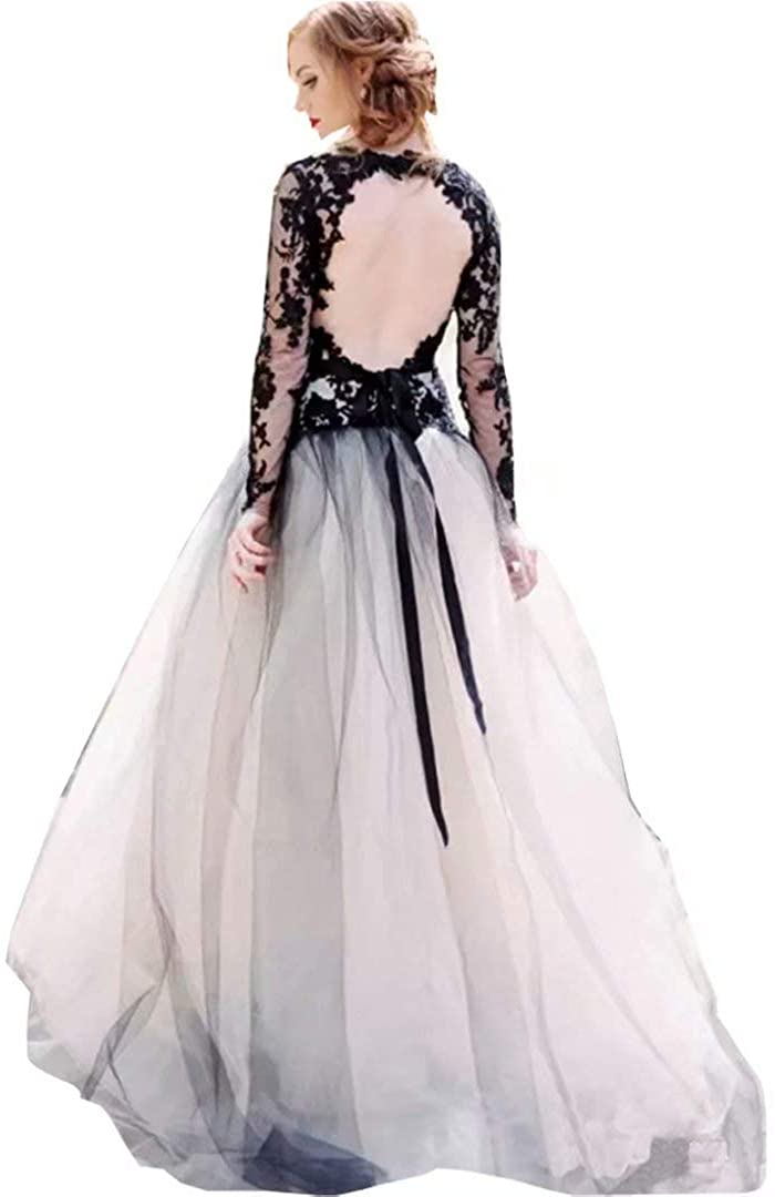 Chady Women's Double V-Neck Lace Tulle Ball Gown Wedding Dress Backless Long Sleeves Vintage Gothic Bridal Gown