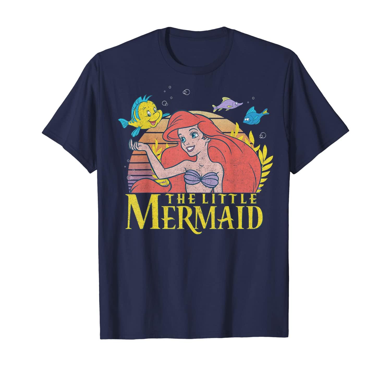 Disney Little Mermaid Ariel Flounder Logo Graphic T-Shirt C1 T-Shirt