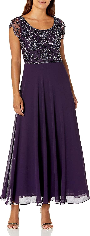 J Kara Womens Petite Long Dress with Flutter Sleeve