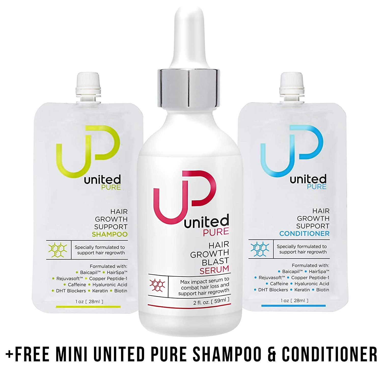 United Pure Hair Growth Serum, 2 Oz | AnaGain & 3% Redensyl | w/Capixyl, Baicapil, HairSpa, Orich-37, Pentavitin | Caffeine | Anti Hair Loss Product w/Free UP Shampoo/Conditioner Minis