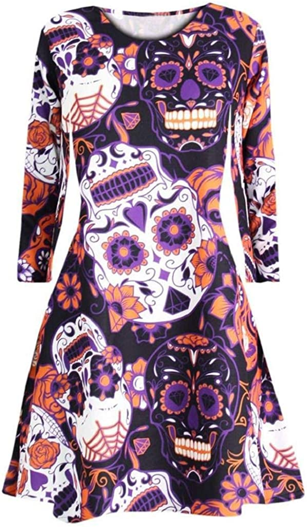 terbklf Halloween Dresses for Women Long Sleeve Pumpkins Print Halloween Evening Prom Costume Slim Casual Swing Dress Purple
