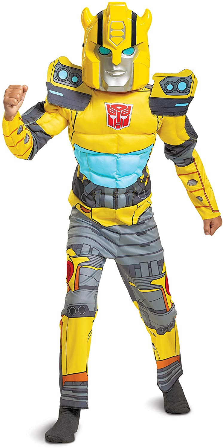Bumblebee Costume, Muscle Transformer Costumes for Boys, Padded Character Jumpsuit, Kids Size Small (4-6) Yellow