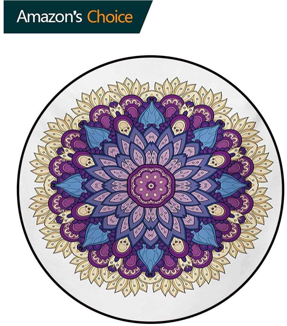 RUGSMAT Mandala Modern Machine Round Bath Mat,Flower Shaped Universe Chart with Color Contours Occult Esoteric Folk Image Non-Slip No-Shedding Kitchen Soft Floor Mat,Diameter-59 Inch