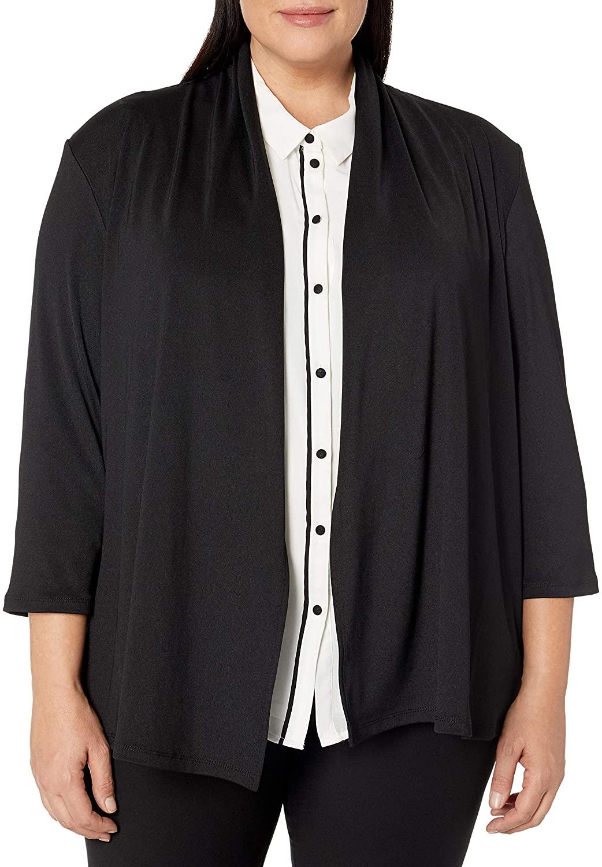 Kasper Women's Plus Size 3/4 Sleeve Cardigan with Back Waist Detail
