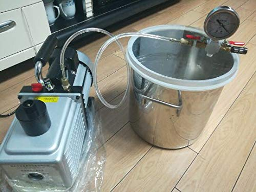 2 Gal (8L) Vacuum Chamber Kit with 2.5CFM (1.4L/s) 220V Vacuum Pump,20cm23cm Stainless Steel Degassing Chamber