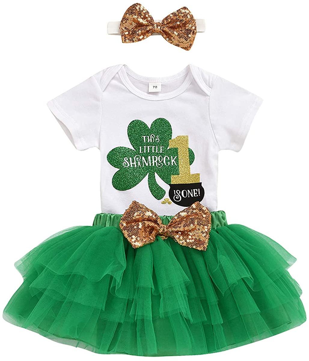 Baby Girls St. Patricks' Day Outfit Shamrock Bodysuit + Tulle Tutu Skirt + Headband + Leg Warmer Clothes Set