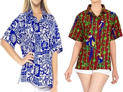 LA LEELA Women's Beach Hawaiian Shirt Regular Fit Short Sleeve Shirt Work from Home Clothes Women Beach Shirt Blouse Shirt Combo Pack of 2 Size X - Large