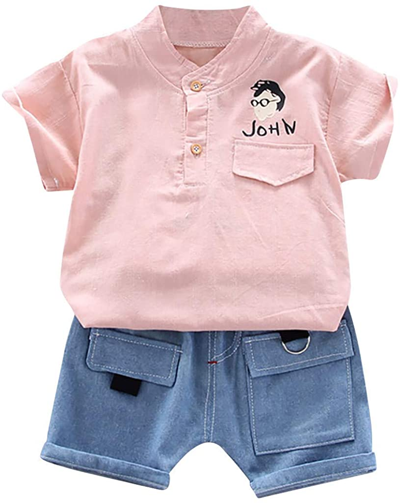 Toddler Baby Boys Cartoon Letter T-Shirt Tops+Denim Shorts Outfits Sets Kids Summer Clothes for 1-4 Years
