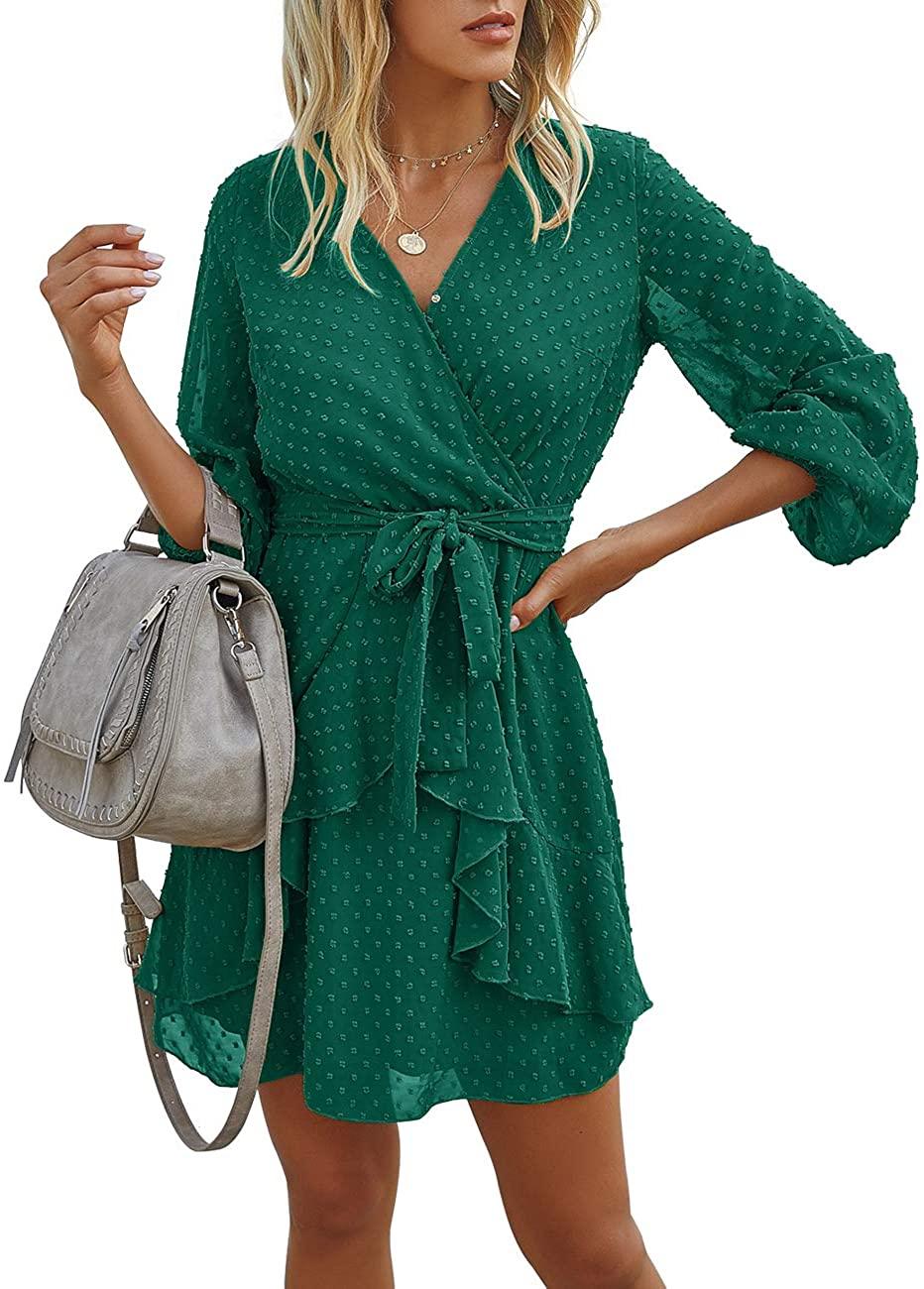 Saslax Womens Casual Faux Wrap V-Neck Short Sleeves Elastic Waist Hem Party Beach Short Dress with Belt