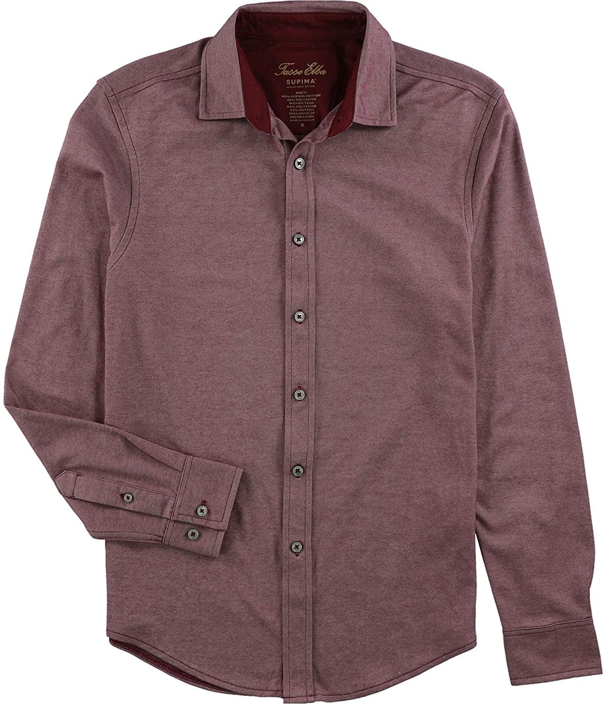 Tasso Elba Mens Birdseye Button Up Shirt