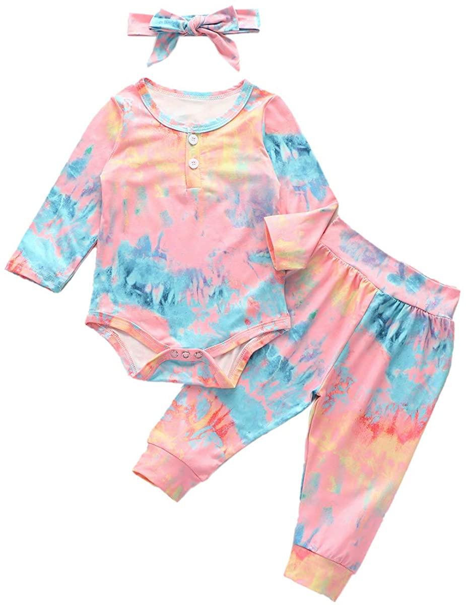 Kids Baby Boys Girls Tie Dye Pajamas Set Sleepwear Homewear Ruffle Romper Pants Tracksuit Sweatshirts Outfit Set
