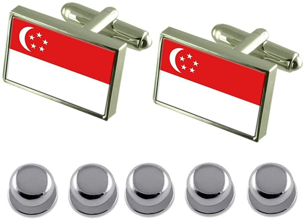 Select Gifts Shirt Dress Studs Singapore Flag Cufflinks