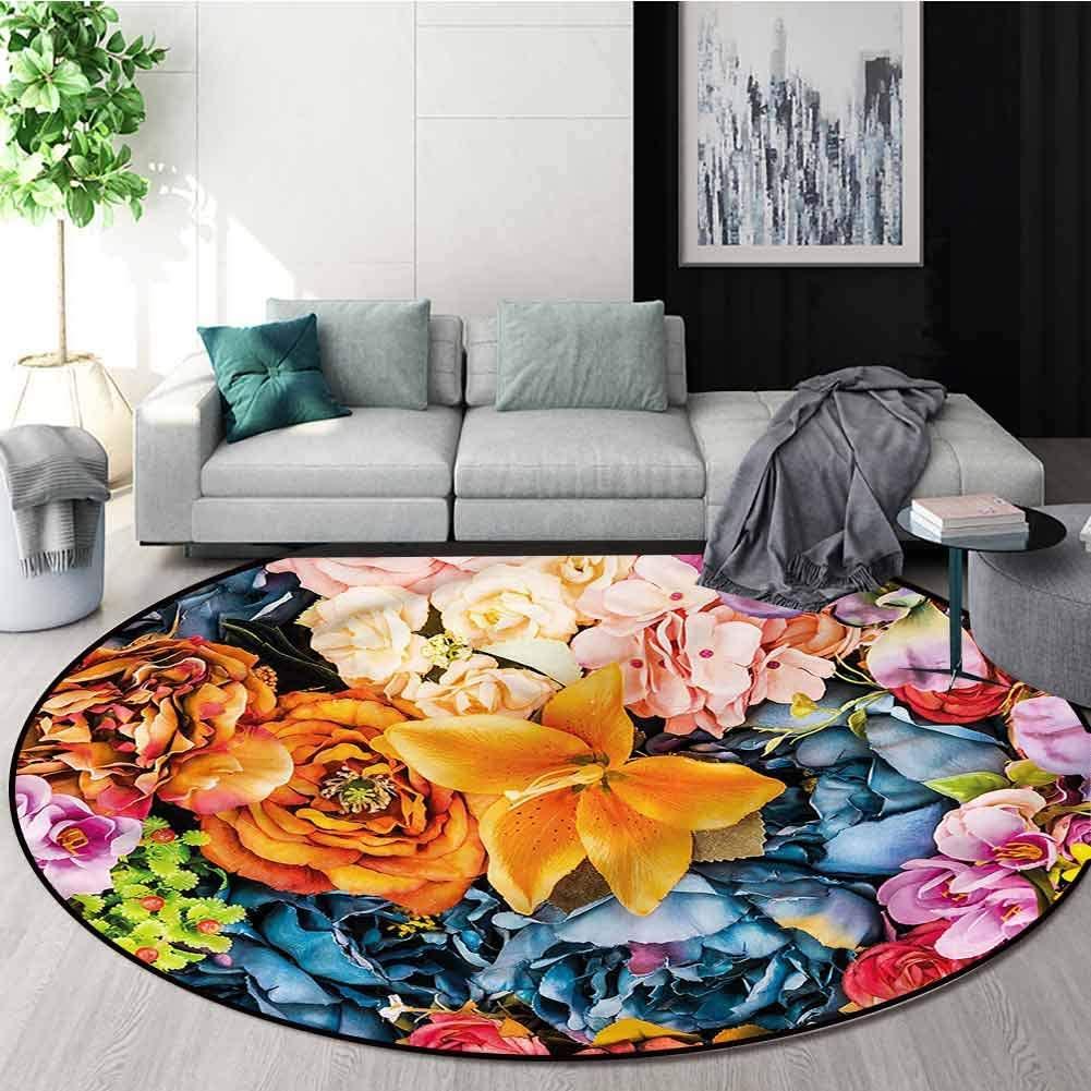 RUGSMAT Floral Modern Washable Round Bath Mat,Vintage Romantic Flowers Coffee Table Mat Non-Skid Living Room Carpet Diameter-39