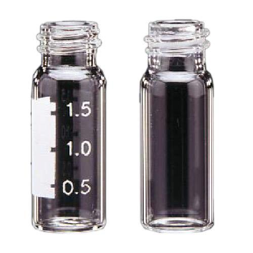 JG Finneran 32008E-12B Clear Borosilicate Glass Standard Opening Screw Thread Vials, Blue Graduation Spot, 2ml Capacity (Case of 1000)